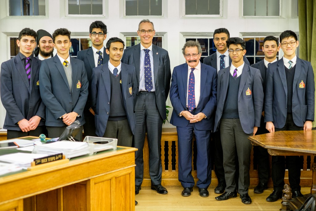Professor Lord Robert Winston with Dr Mark Fenton and boys from King Edwards School