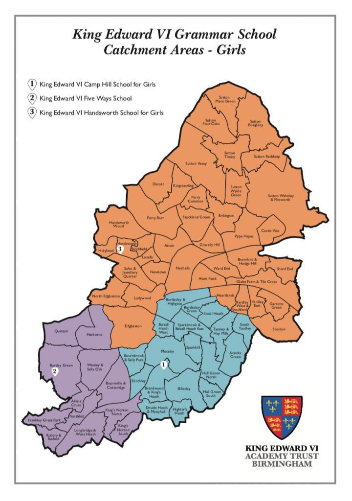 King Edward VI Grammar School Catchment Areas - Boys