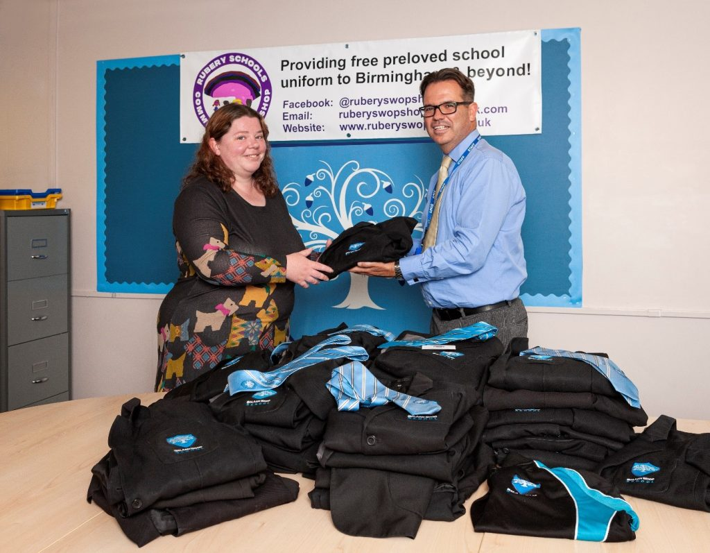 Headteacher Damian McGarvey with Rubery Schools Community Swop Shop founder Kristina Murphy