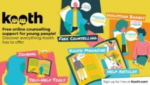 Kooth: Free online counselling support for young people. Sign up at Kooth.com